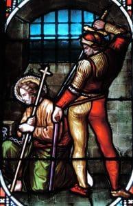 Joseph VILLIET, vitrail de la décollation de saint Jean-Baptiste 1864, basilique Saint-Seurin, Bordeaux